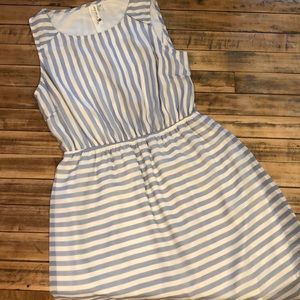 Blue and White Striped Dress size L
